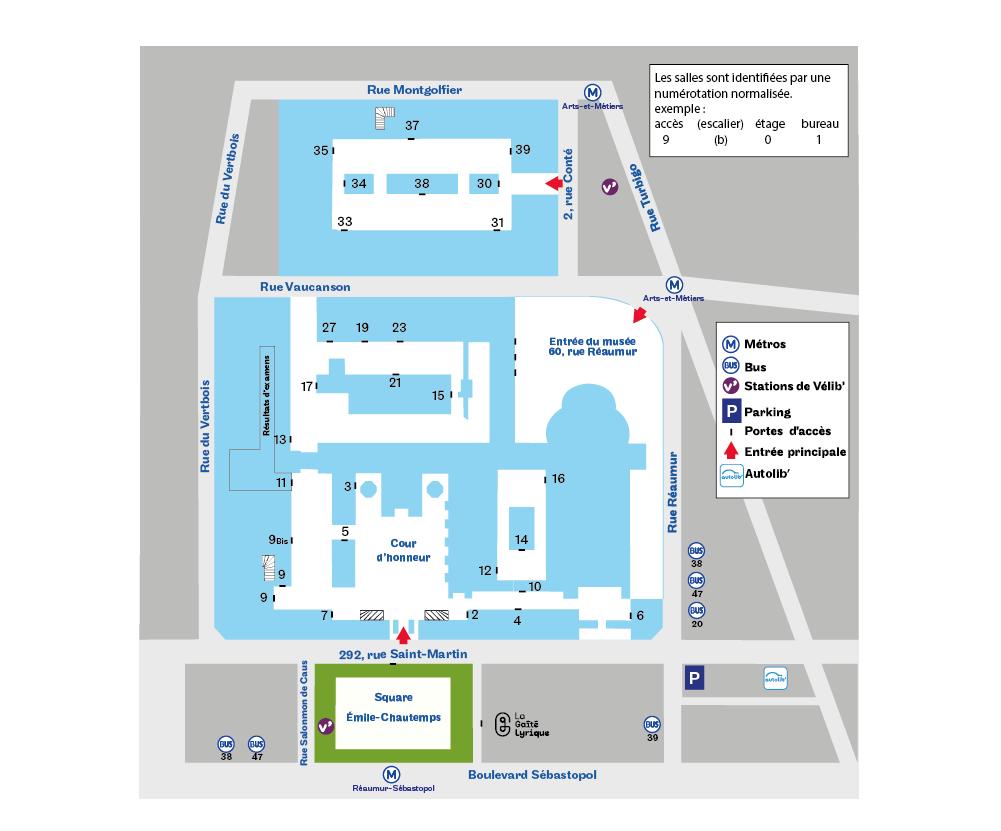 Paris 3e acces et salles plan